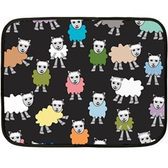 Sheep Cartoon Colorful Black Pink Double Sided Fleece Blanket (mini)