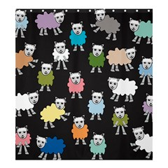 Sheep Cartoon Colorful Black Pink Shower Curtain 66  X 72  (large)