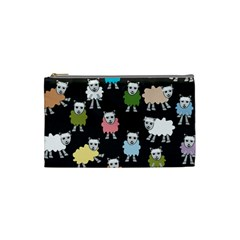 Sheep Cartoon Colorful Black Pink Cosmetic Bag (small)
