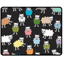Sheep Cartoon Colorful Black Pink Fleece Blanket (medium)
