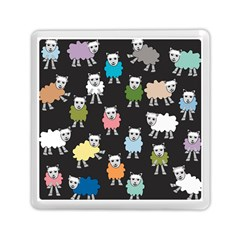 Sheep Cartoon Colorful Black Pink Memory Card Reader (square)