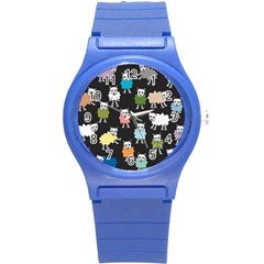 Sheep Cartoon Colorful Black Pink Round Plastic Sport Watch (s)