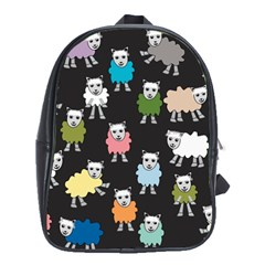 Sheep Cartoon Colorful Black Pink School Bags (xl)