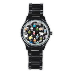 Sheep Cartoon Colorful Black Pink Stainless Steel Round Watch