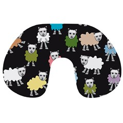 Sheep Cartoon Colorful Black Pink Travel Neck Pillows