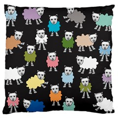 Sheep Cartoon Colorful Black Pink Large Flano Cushion Case (one Side)