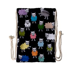Sheep Cartoon Colorful Black Pink Drawstring Bag (small)
