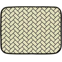 Brick2 Black Marble & Beige Linen (r) Double Sided Fleece Blanket (mini)