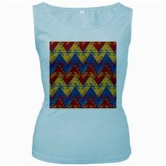 Aztec South American Pattern Zig Women s Baby Blue Tank Top