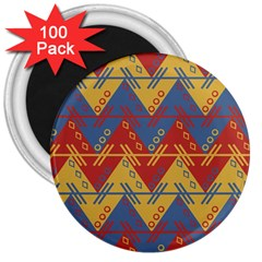 Aztec South American Pattern Zig 3  Magnets (100 Pack)