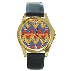 Aztec South American Pattern Zig Round Gold Metal Watch