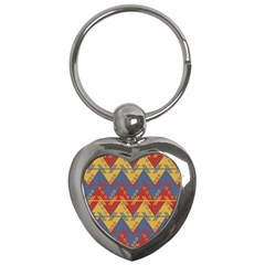 Aztec South American Pattern Zig Key Chains (heart)