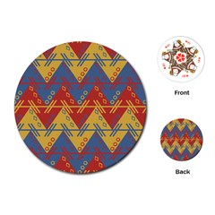 Aztec South American Pattern Zig Playing Cards (round)