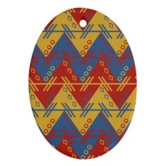 Aztec South American Pattern Zig Oval Ornament (two Sides)