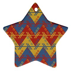 Aztec South American Pattern Zig Star Ornament (two Sides)