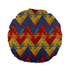 Aztec South American Pattern Zig Standard 15  Premium Round Cushions