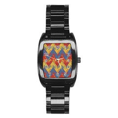 Aztec South American Pattern Zig Stainless Steel Barrel Watch