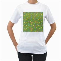 Balloon Grass Party Green Purple Women s T Shirt (white) (two Sided)