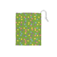 Balloon Grass Party Green Purple Drawstring Pouches (small)