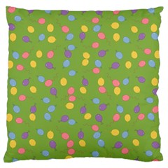 Balloon Grass Party Green Purple Large Flano Cushion Case (two Sides)