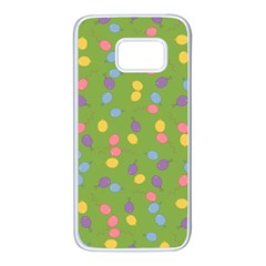Balloon Grass Party Green Purple Samsung Galaxy S7 White Seamless Case