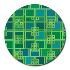 Green Abstract Geometric Round Mousepads