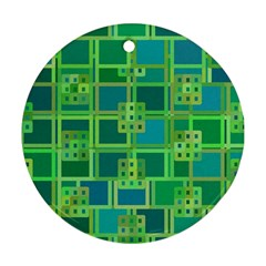 Green Abstract Geometric Ornament (round)