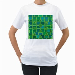 Green Abstract Geometric Women s T Shirt (white) (two Sided)