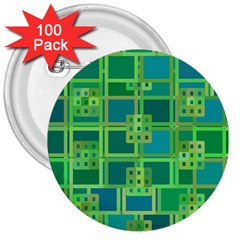 Green Abstract Geometric 3  Buttons (100 Pack)