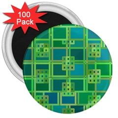 Green Abstract Geometric 3  Magnets (100 Pack)
