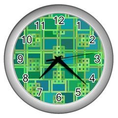 Green Abstract Geometric Wall Clocks (silver)