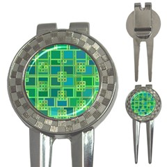 Green Abstract Geometric 3 In 1 Golf Divots
