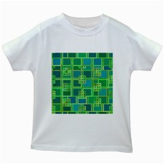 Green Abstract Geometric Kids White T Shirts