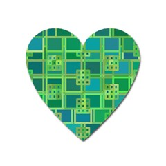 Green Abstract Geometric Heart Magnet