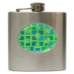 Green Abstract Geometric Hip Flask (6 Oz)