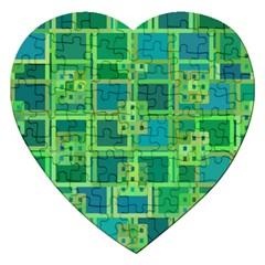 Green Abstract Geometric Jigsaw Puzzle (heart)