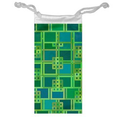 Green Abstract Geometric Jewelry Bag