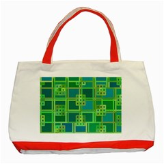Green Abstract Geometric Classic Tote Bag (red)