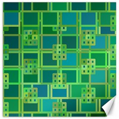 Green Abstract Geometric Canvas 12  X 12
