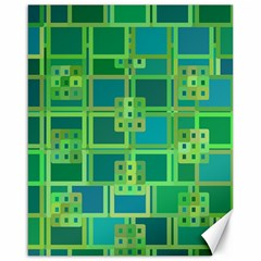 Green Abstract Geometric Canvas 16  X 20