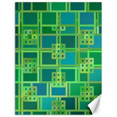 Green Abstract Geometric Canvas 18  X 24