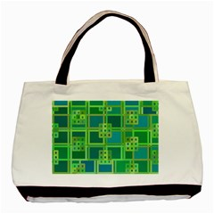 Green Abstract Geometric Basic Tote Bag (two Sides)