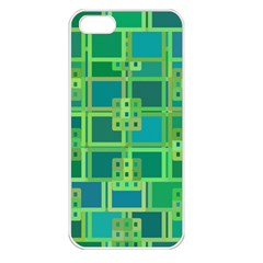 Green Abstract Geometric Apple Iphone 5 Seamless Case (white)