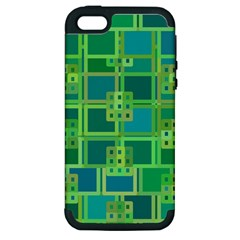 Green Abstract Geometric Apple Iphone 5 Hardshell Case (pc+silicone)