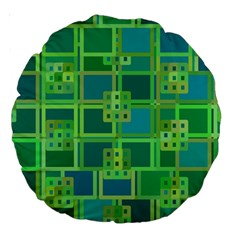 Green Abstract Geometric Large 18  Premium Round Cushions