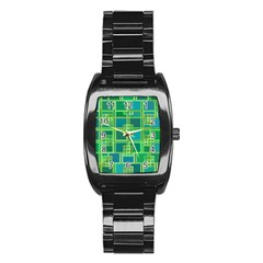 Green Abstract Geometric Stainless Steel Barrel Watch