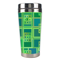 Green Abstract Geometric Stainless Steel Travel Tumblers
