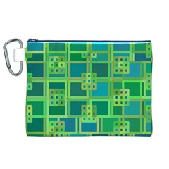 Green Abstract Geometric Canvas Cosmetic Bag (xl)