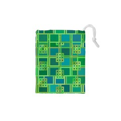 Green Abstract Geometric Drawstring Pouches (xs)