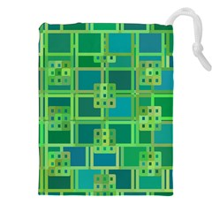 Green Abstract Geometric Drawstring Pouches (xxl)